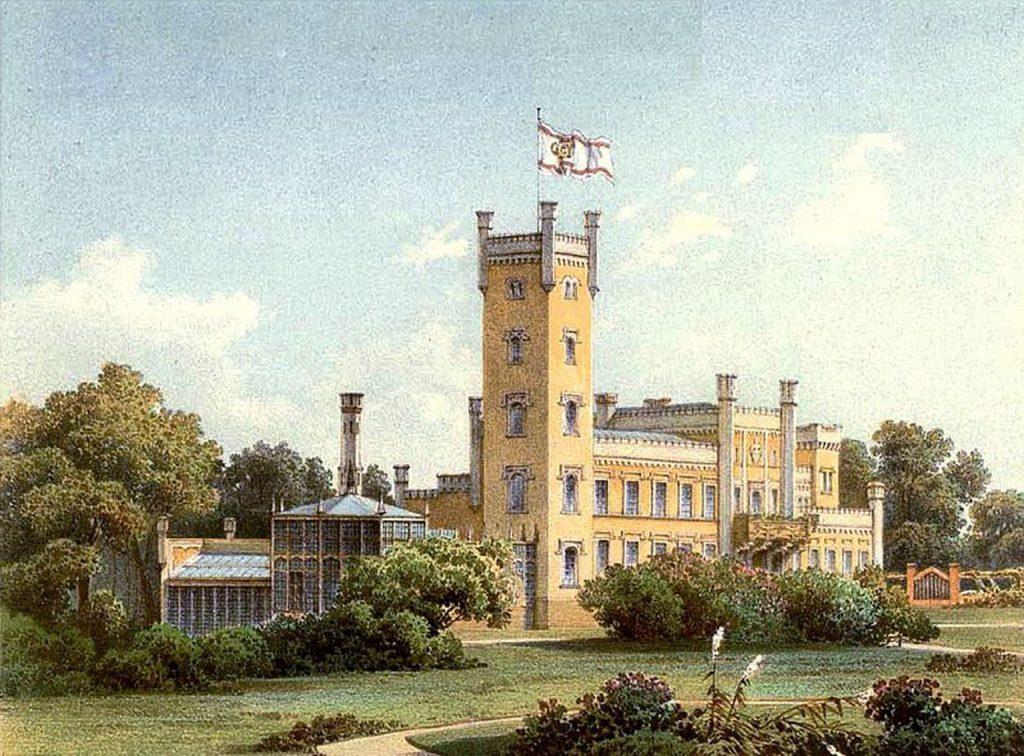 Historische Lithografie des Schlosses Hohenlandin